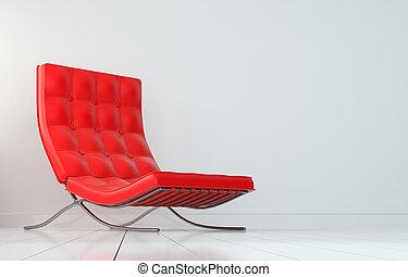 現代, 內部, ......的, 房間, 由于, 紅色, 扶手椅子