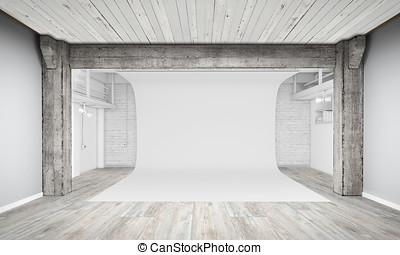 現代, 内部, の, 写真の スタジオ, ∥で∥, 白い背景