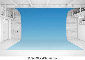 現代, 内部, の, 写真の スタジオ, ∥で∥, 青い背景