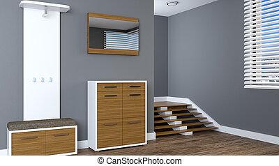 現代, 内部, の, a, 小さい, apartment., hallway., 3d, レンダリング