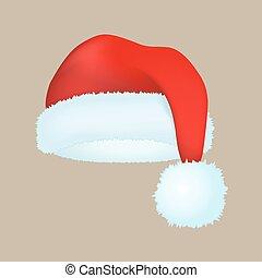 現代, 冬服, 帽子, 上, claus, 優雅さ, 帽子, ベクトル, santa, 休日, ファッション,...