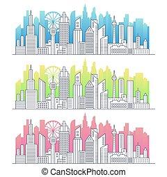 現代, 勾配, illustration., パノラマ, 大きい, 芸術, ベクトル, 線, 超高層ビル, 色, 都市の景観, 都市