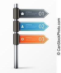 現代, 印, デザイン, テンプレート, infographics, 道