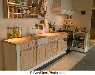 現代, 古典の neo, デザイン, 木製である, 国, 台所