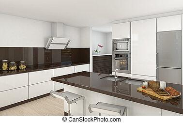 現代, 台所, 白, そして, ブラウン