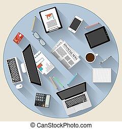 現代, 套間, 設計, brainstorming, 以及, 配合, 概念
