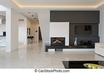 現代, 家, 中に, minimalistic, デザイン
