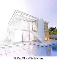 現代, 家, 印象的, プロジェクト, プール, 建築