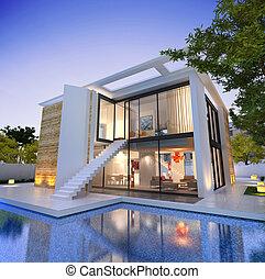 現代, 家, 印象的, 階段, プール