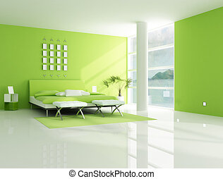 現代, 寝室, 緑