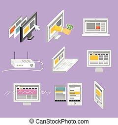 現代, 小道具, そして, web ページ, テンプレート, コレクション
