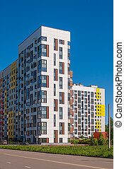 現代, 居住, 複雜, 上, the, 背景, ......的, the, 藍色, sky., 它, 房子, 變量,...