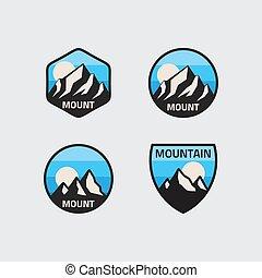 現代, 山, 集合, 矢量, 標識語