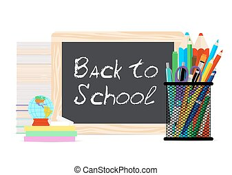 現代, 平ら, ベクトル, イラスト, 板, ∥で∥, チョーク, 学校に戻って, 印, そして, 供給