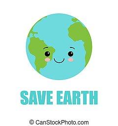 現代, 平ら, 創造的, 惑星, 地球, 甘い, 地球, デザイン, 日, 概念, 人間性, 漫画, 顔, 微笑, かわいい, style.