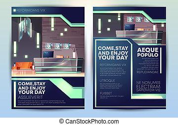 現代, 広告, ホテル, テンプレート, パンフレット, 漫画