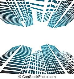 現代, 建物, ガラス, シルエット, の, 超高層ビル, 都市で