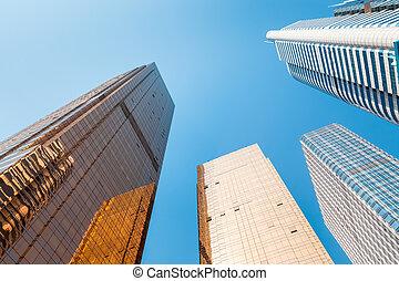 現代, 建筑物, 從, 下面