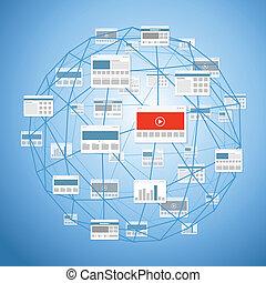 現代, 數字的媒介, 網站, 連接, 摘要, 方案