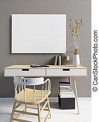 現代, 斯堪的納維亞人, 風格, 內部, a, 地方, 為, study.3d, illustration., 海報, 嘲弄, 向上