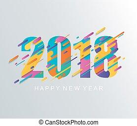 現代, 新年おめでとう, 2018, デザイン, card.