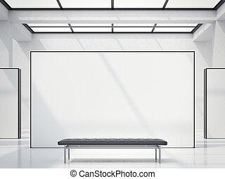 現代, 明るい, ギャラリー, ∥で∥, 白, wall., 3d, レンダリング