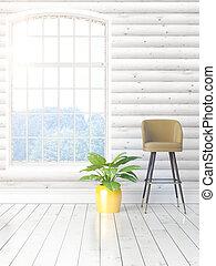 現代, 明るい, 大きい, レンダリング, 窓, 内部, 3d