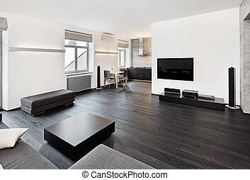 現代, 最簡單主義, 風格, 客廳, 內部, 在, 黑色 和 白色, 音調