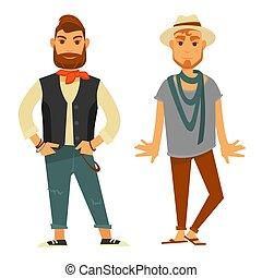 現代, 流行, 男性, 隔離された, イラスト, 流行, 衣服