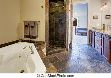 現代, 浴室, 內部, 由于, 瓦片, 陣雨, 修剪