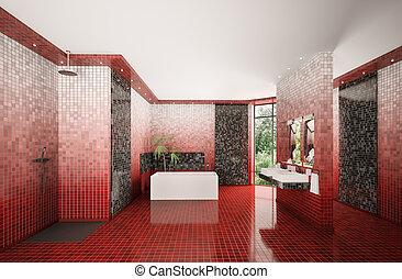 現代, 浴室, 內部, 3d, render