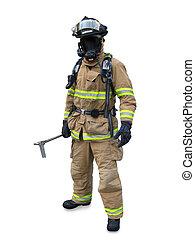 現代, 消防士, 中に, ギヤ
