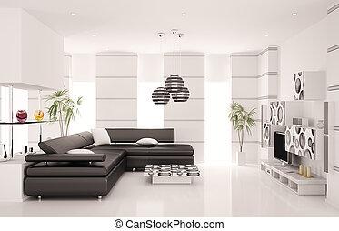 現代 生活, 部屋, 内部, 3d, render