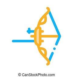 現代, 矢, 線, ベクトル, 道具, 薄くなりなさい, 弓, アイコン
