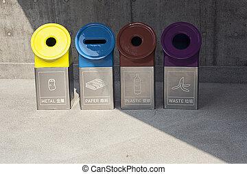 現代, 箱子, 為, 不同, 類型, ......的, 垃圾
