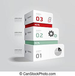 現代, 箱子, infographic, 設計, 風格, 布局, /, 樣板, infographics, cutout...