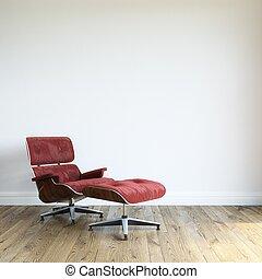 現代, 紅色, 天鵝絨, 扶手椅子, 由于, ot