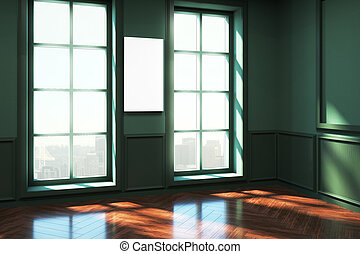 現代, 綠色, 起居室, 由于, 旗幟