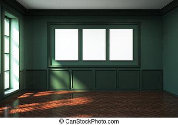 現代, 綠色, 起居室, 由于, 海報
