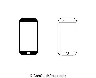 現代, 線, set., 平ら, handphone, ベクトル, イラスト, スタイル, アイコン