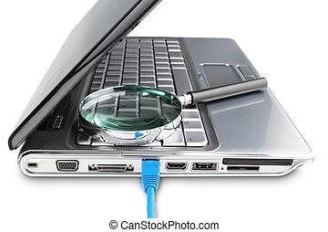 現代, 膝上型, 以及, 網際網路, 電纜, 放大器, 搜尋, 為, information.