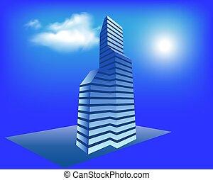 現代, 色, すみれ, ネオン, ベクトル, 都市の景観, 都市, 青, 超高層ビル, パノラマ, 夜, lights., 概念, 照らされた, 白熱, 背景, 未来派