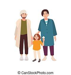 現代, 若い, 微笑に立つこと, バックグラウンド。, family., 隔離された, 採用された, ∥(彼・それ)ら∥, 白, kid., 情事, 平ら, 同性愛, ゲイカップル, 男性, 特徴, 対, 漫画, 有色人種, daughter., illustration., ベクトル