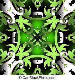 現代, 華やか, 繰り返し, 葉, pattern., スタイル, 対称である, 白熱, バロック式, 型, ornament., 花, seamless, ベクトル, 古い, カラフルな花, ダマスク織, design., 美しい, 背景, frames., ブランチ, バックグラウンド。