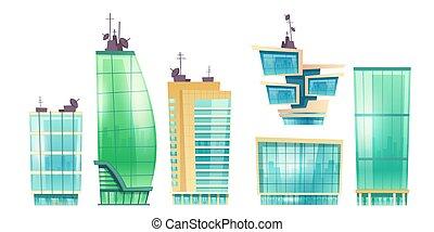 現代, 超高層ビル, ベクトル, 建物, オフィス