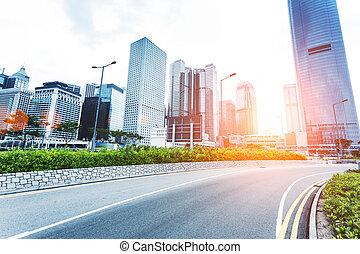 現代, 都市の景観, そして, 道, の, hongkong