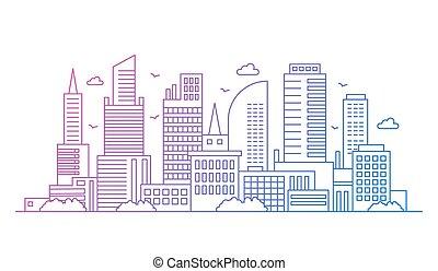 現代, 都市の景観, illustration., 勾配, 線, 超高層ビル, 背景, 芸術, 大きい都市, ベクトル, 色