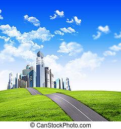 現代, 都市, 囲まれた, によって, 性質の景色