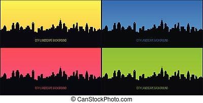 現代, 都市, 風景, 建物, 超高層ビル, design., ベクトル, 都市の景観, 都市, 抽象的, 大きい, パノラマ, ビュー。, silhouette., スカイライン, 都市, オフィス。, backgrounds.