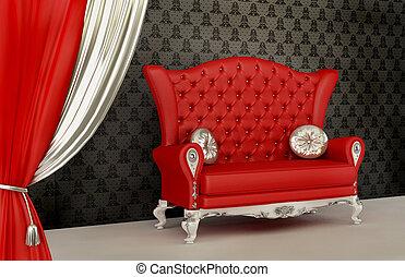 現代, 開いた, ソファー, 壁紙, 装飾, 内部, カーテン, 枕